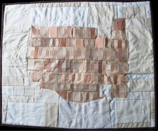 This Land is White Land; quilted adhesive bandages and fabric by Amanda K Gross