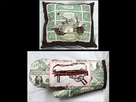 Domesticated #2 & #3; Hand-Embroidered U.S. Currency, by Amanda K Gross