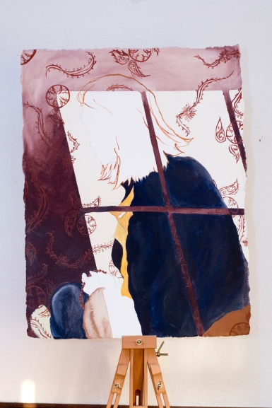 Self-Portrait from Shadow Silhouette; Acrylic on Paper by Amanda K Gross