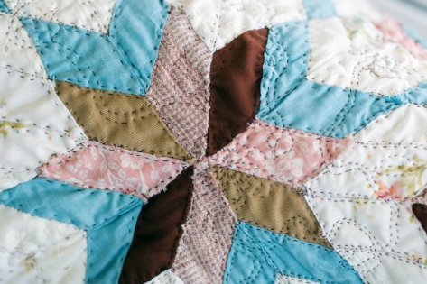 Squilt (detail); Hand pieced and quilted by Amanda K Gross