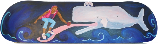 Lilith and the Whale; Acrylic on Skateboard by Amanda K Gross