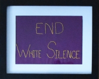 End White Silence: Hand embroidered commercial fabric by Amanda K Gross